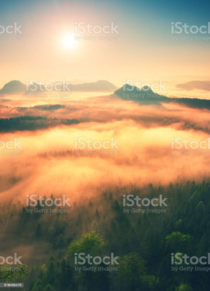 Fantastic dreamy sunrise above deep valley hidden the rocky mountains stock photo