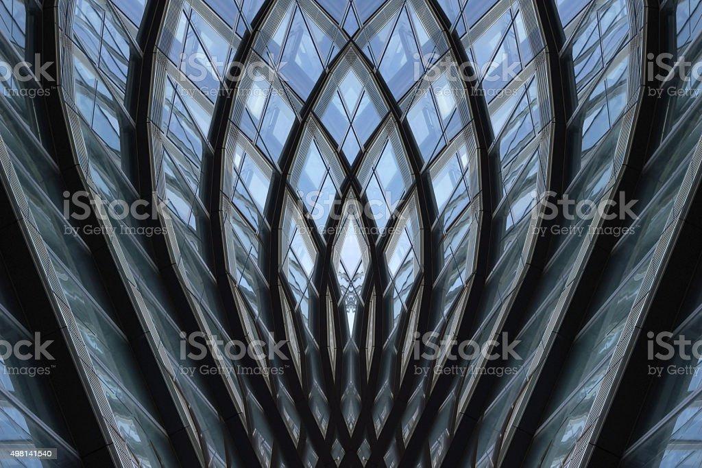 Fantastic glazed aluminum structure with flower-shaped or pineapple-shaped framework stock photo