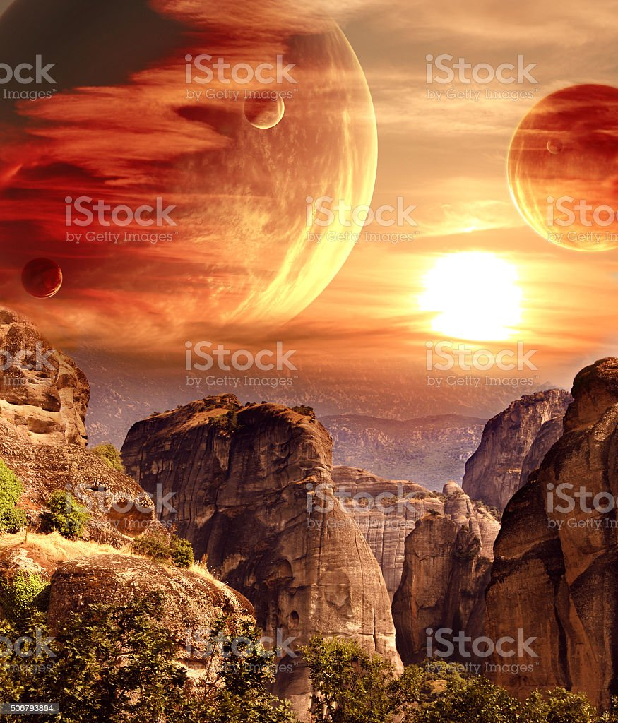 Fantastic landscape with planet, mountains, sunset stock photo