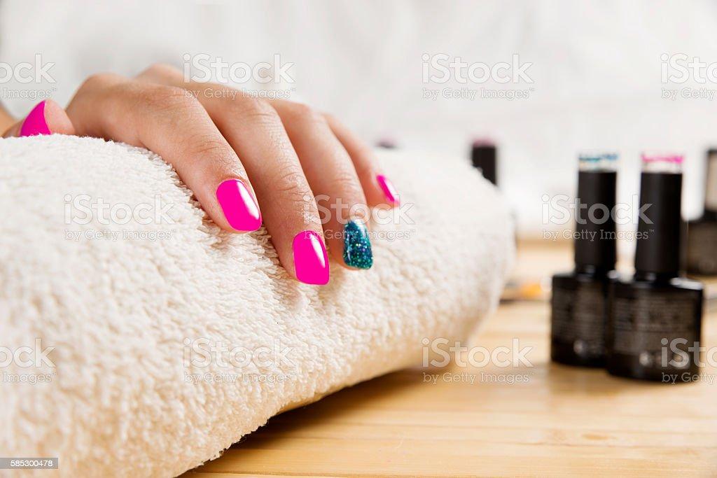 fantastic manicure in a modern beauty shop stock photo