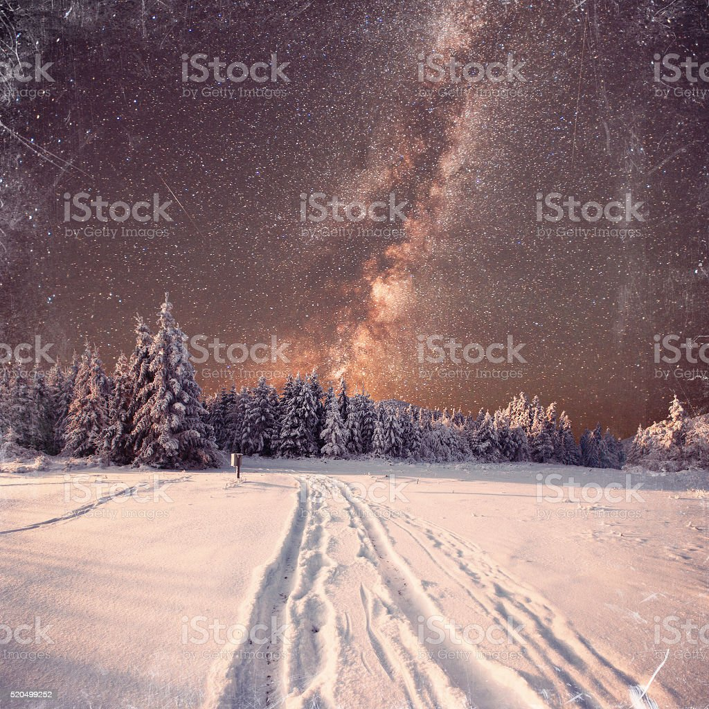 fantastic milky way in the New Year's Eve. Vintage effect stock photo