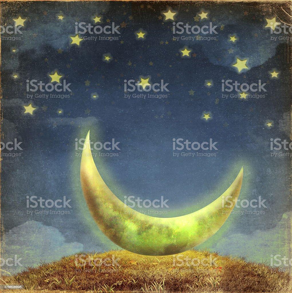 Fantastic moon and stars   at night sky stock photo