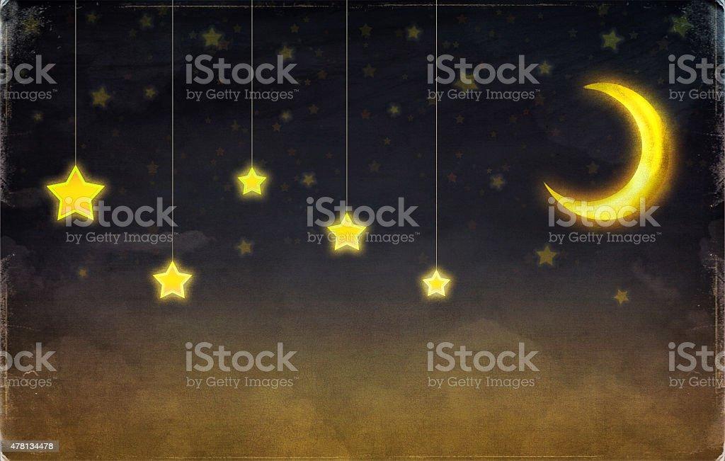 Fantastic moon and stars on the rope  at night sky stock photo