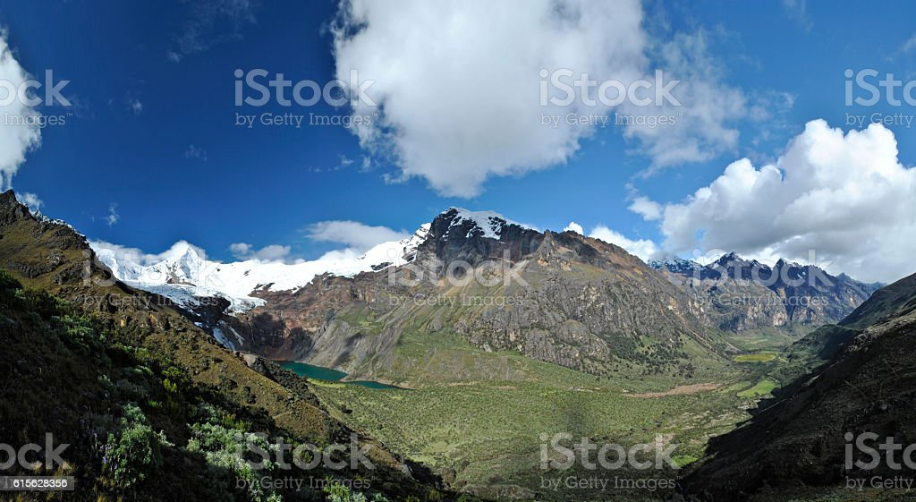 Fantastic panoramic view into two valley's. stock photo