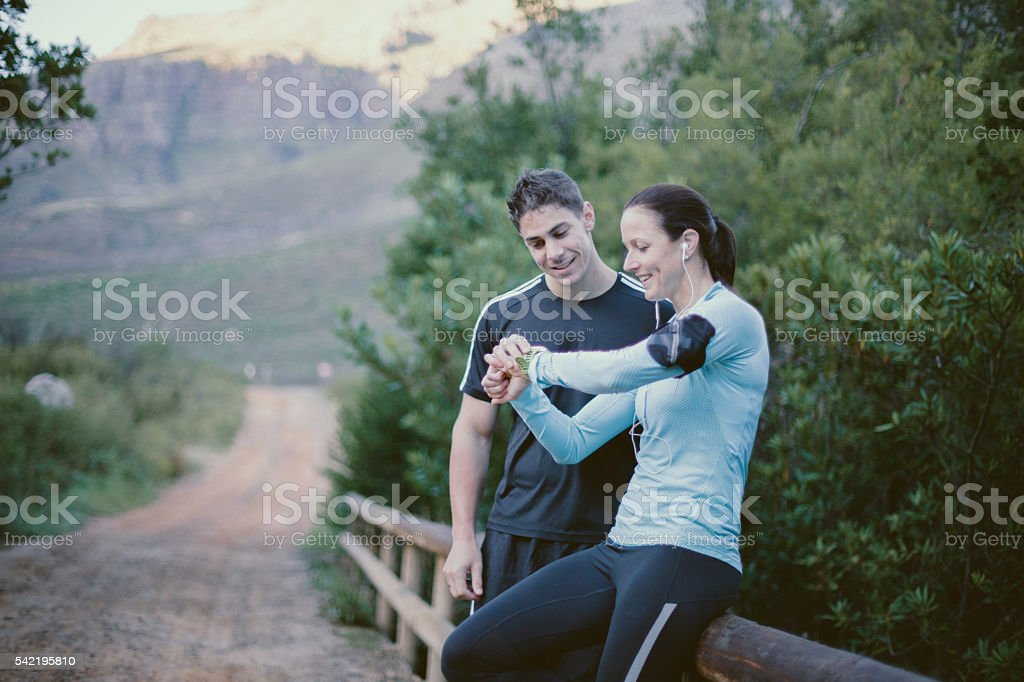 Fantastic run, lets check our times. stock photo
