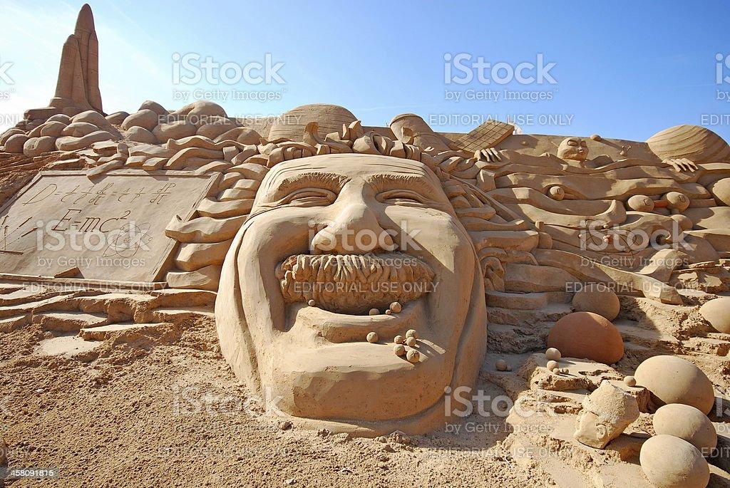 fantastic sand sculpture with head of Einstein stock photo