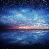 Fantastic starry sky over the sea
