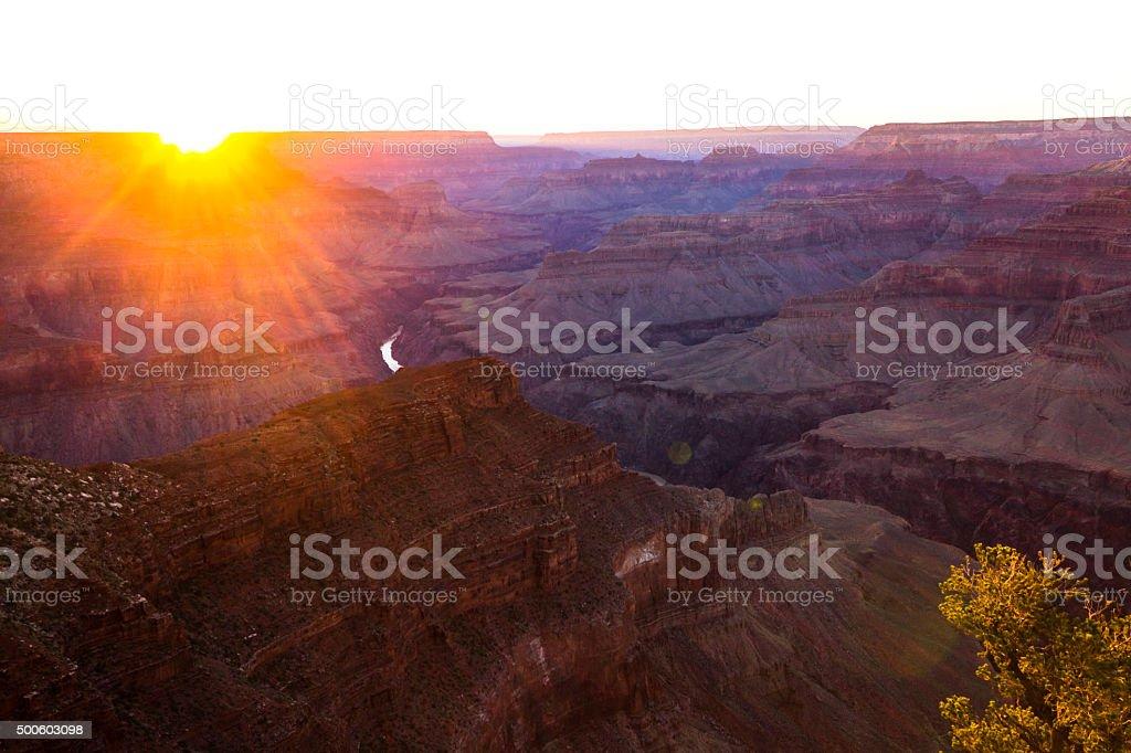 Fantastic sunset at Grand Canyon stock photo