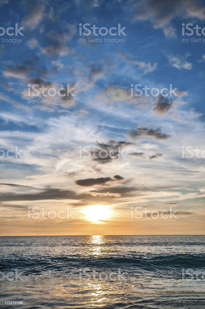 Fantastic Sunset Over The Ocean royalty-free stock photo