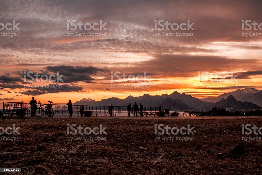 fantastic sunset stock photo