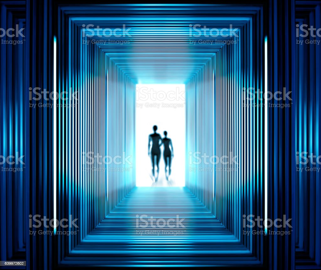 Fantastic tunnel and strangers stock photo