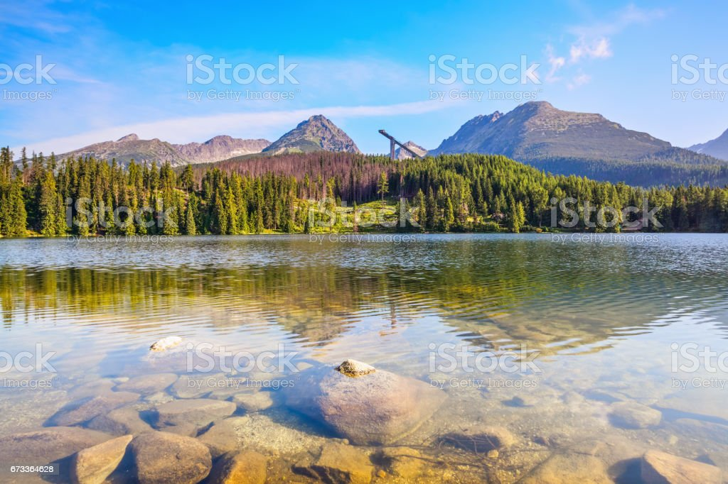 Fantastic view of high mountains and green forest on sunny summer day  from the shore of lake with huge stones. stock photo