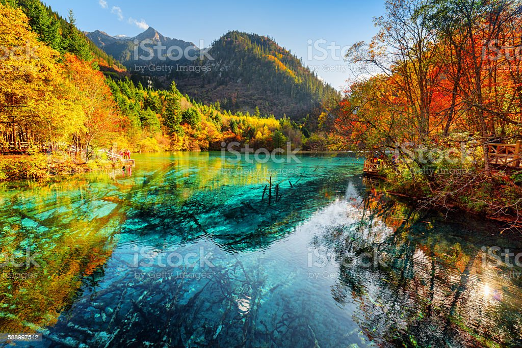 Fantastic view of the Five Flower Lake with azure water stock photo