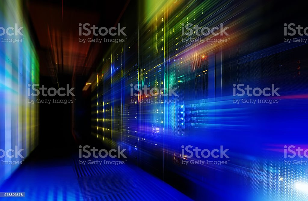 fantastic view of the mainframe in the data center row stock photo