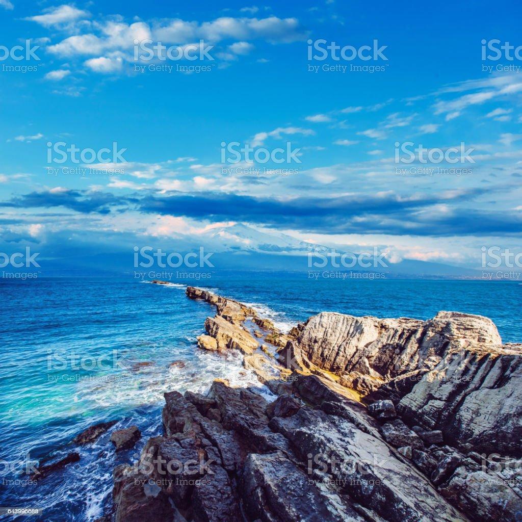 Fantastic view of the nature reserve Monte Cofano. Dramatic scen stock photo