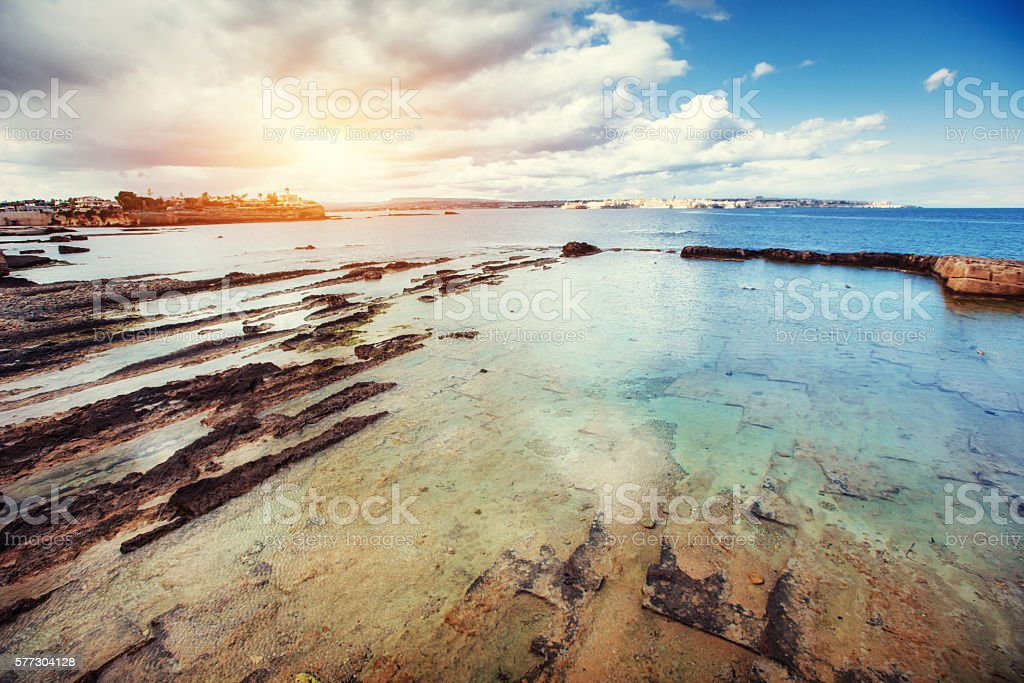 Fantastic view of the nature reserve Monte Cofano. stock photo