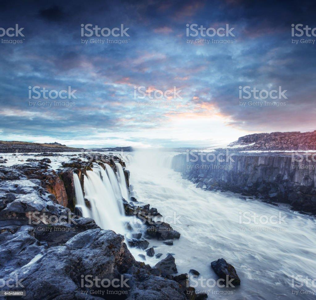Fantastic views of Selfoss waterfall in the national park Vatnaj stock photo