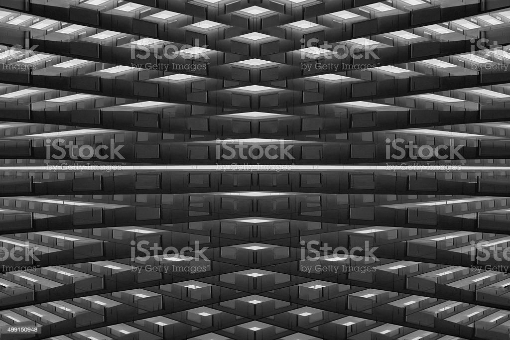 Fantastic warehouse or storage. Logistics concept. Futuristic architectural composition. stock photo