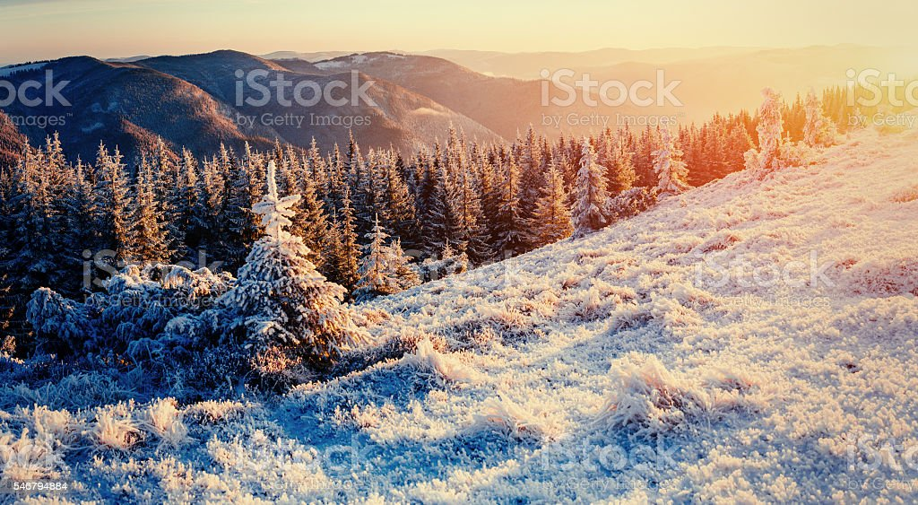 Fantastic winter landscape in the mountains. stock photo