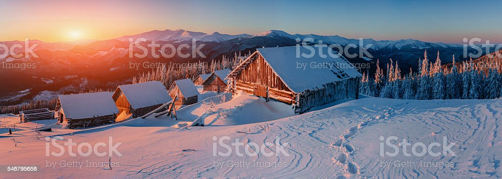 Fantastic winter landscape, the steps that lead to the cabin. stock photo