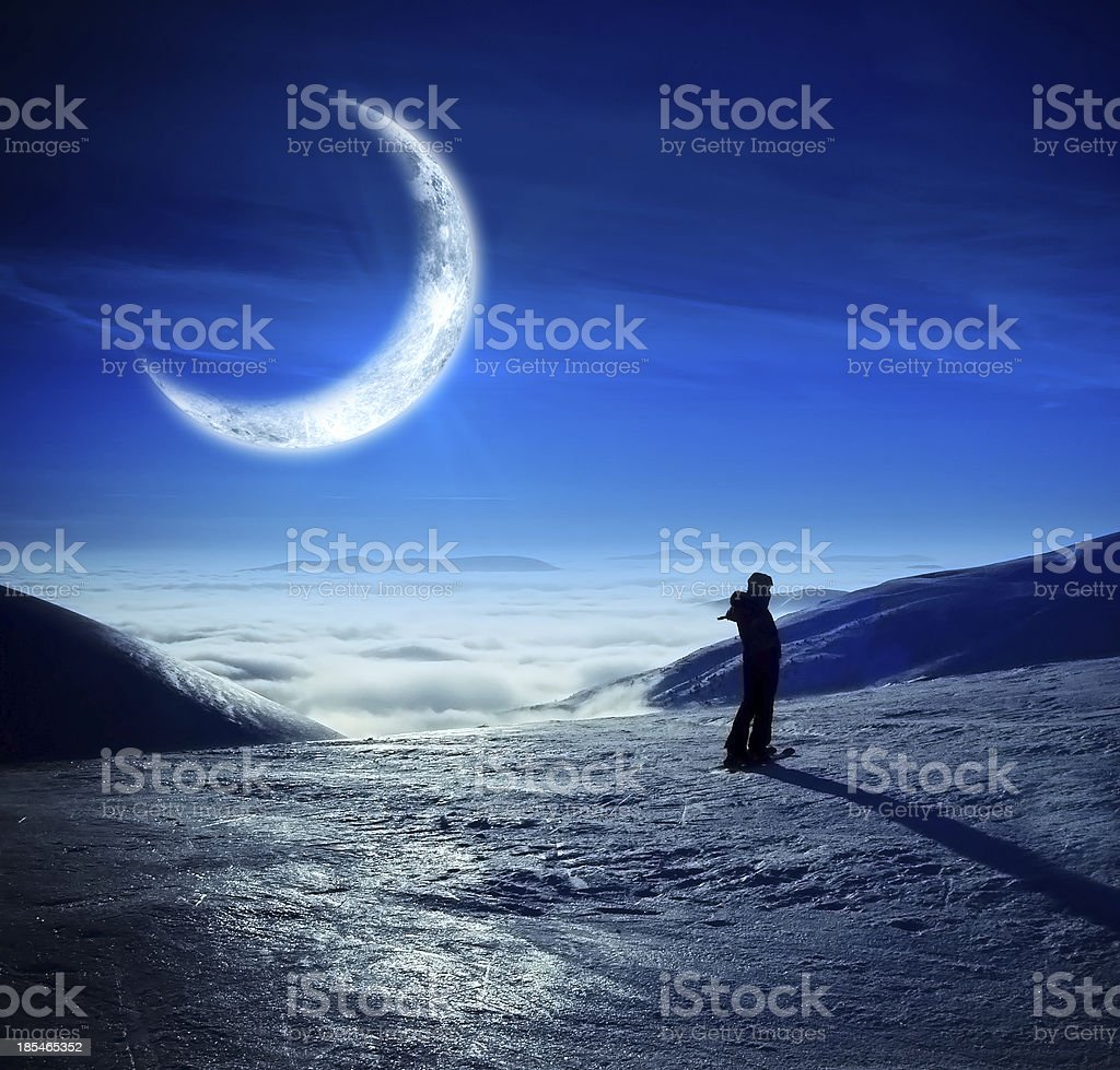 Fantastic winter landscape with beautiful moon royalty-free stock photo