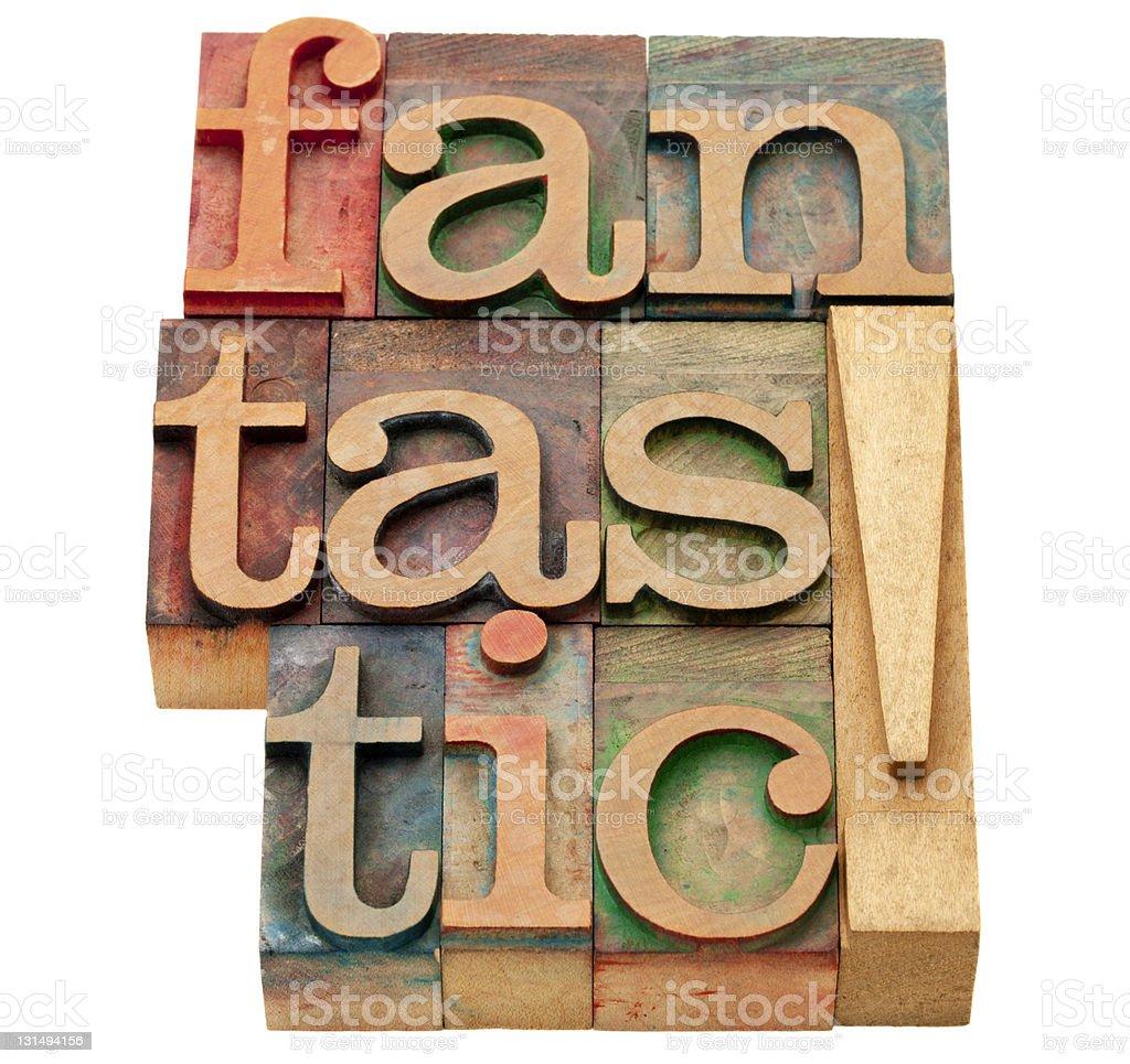 fantastic word in letterpress type royalty-free stock photo