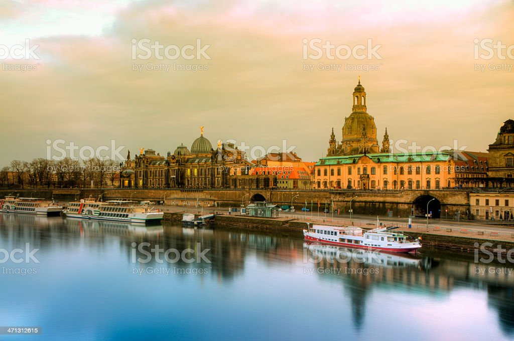 Fantastic Yellow morning by Elbe in Dresden, Germany royalty-free stock photo