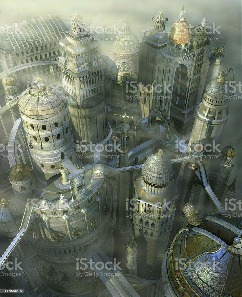 fantasy 3D city royalty-free stock photo