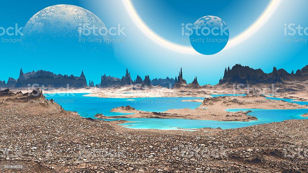Fantasy alien planet. Rocks and lake. 3D illustration stock photo