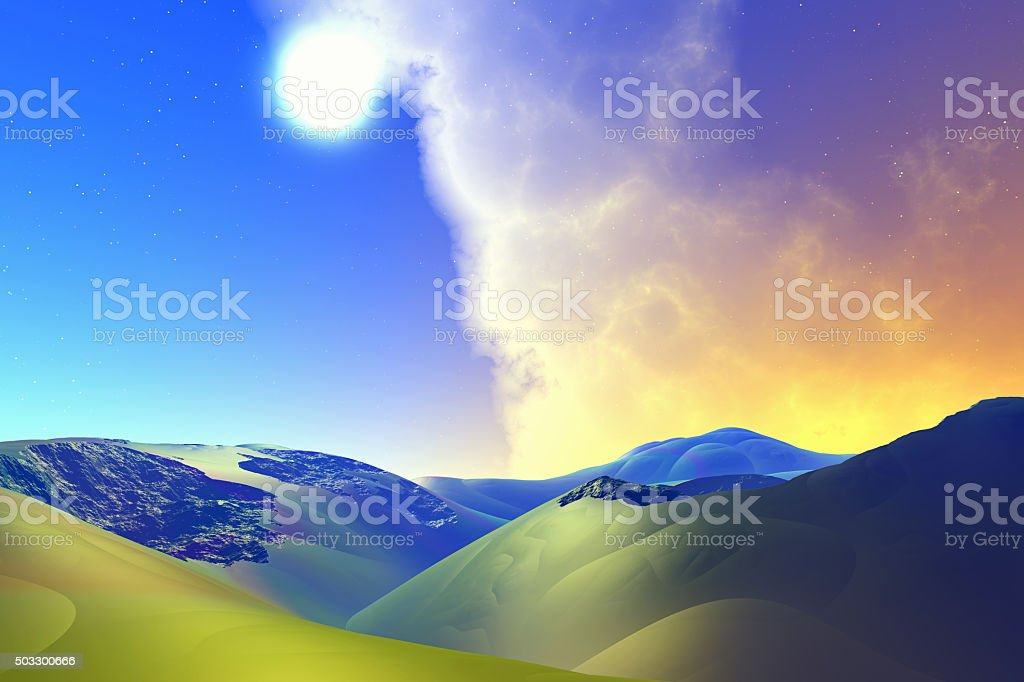 Fantasy alien planet. Rocks and sky stock photo