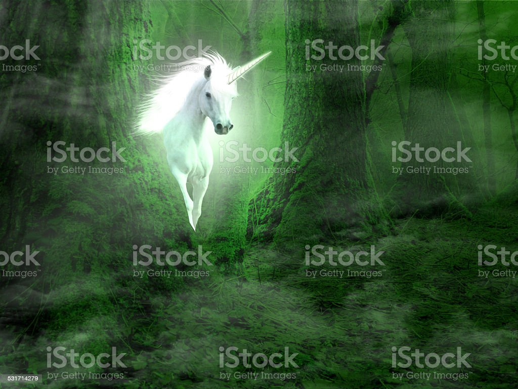 fantasy background with unicorn in the forest stock photo