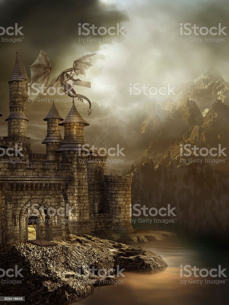 Fantasy castle with a dragon stock photo
