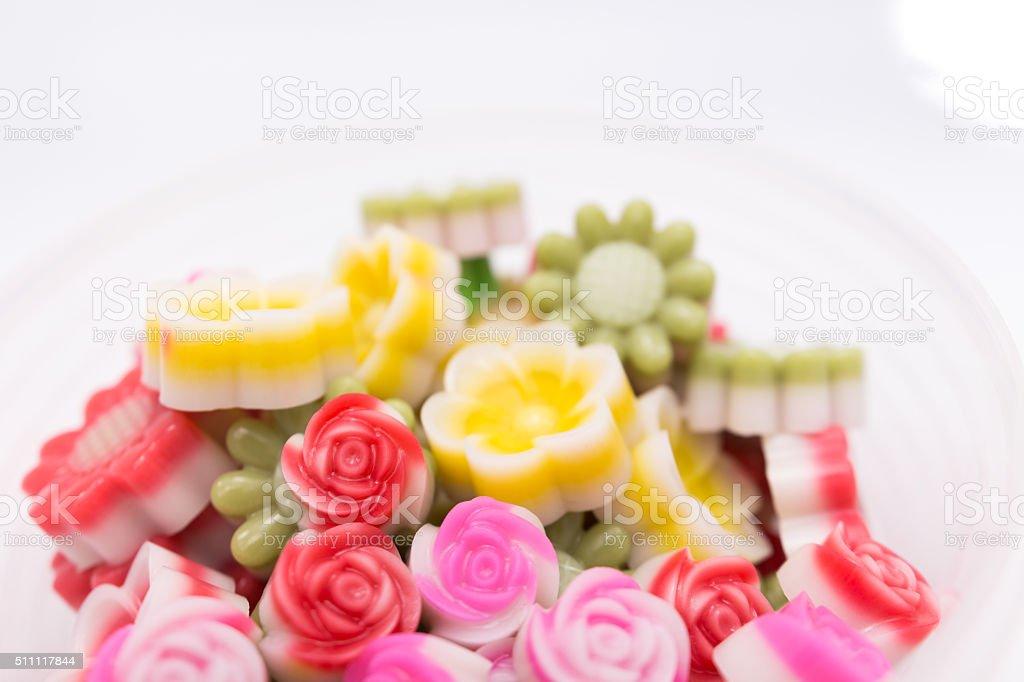 Fantasy coconut Jelly Thai Dessert,rose form stock photo
