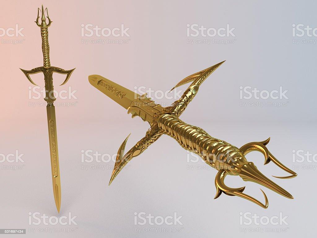 Fantasy detailed 3d Golden sword stock photo