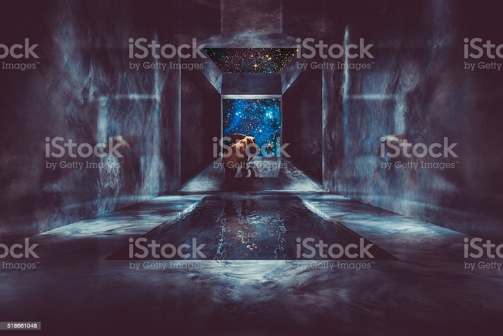 Fantasy elephant walking in spaceship stock photo