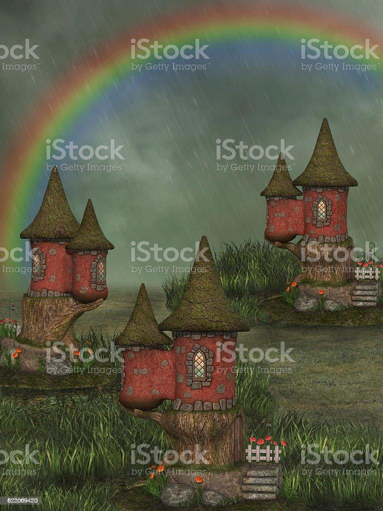 fantasy fairy house stock photo