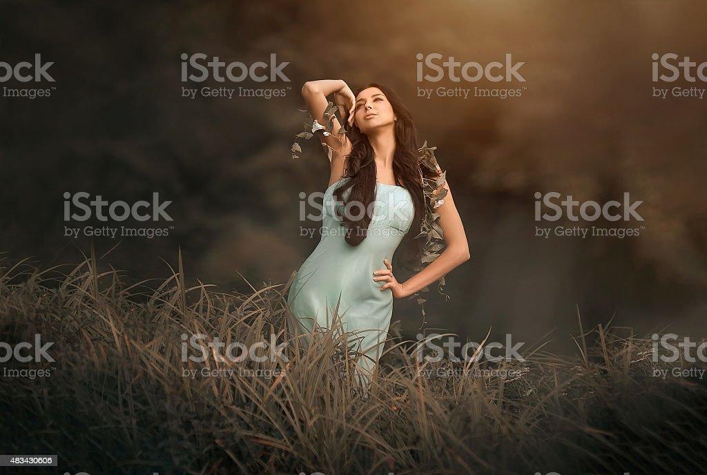 Fantasy fairytale and beautiful woman - wood nymph among tall stock photo