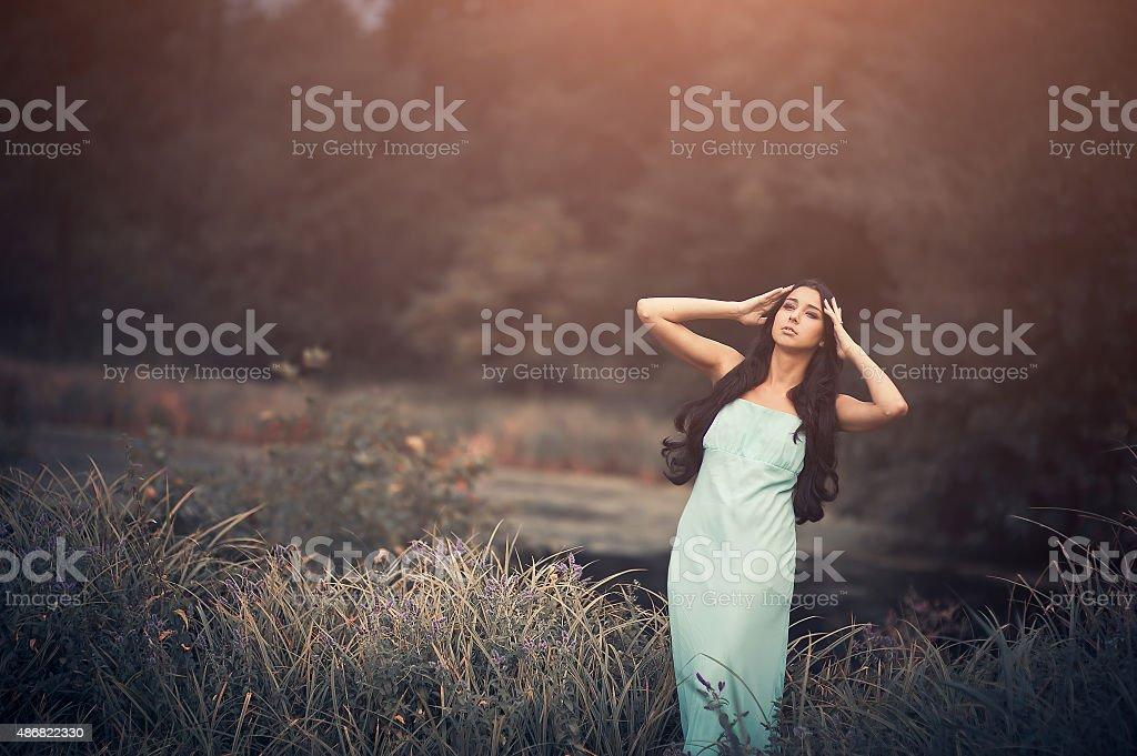 Fantasy fairytale, beautiful but sad woman - wood nymph among stock photo