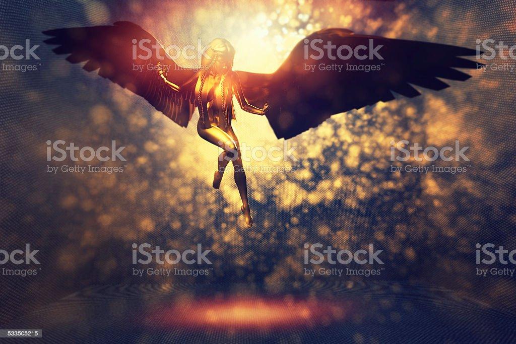 Fantasy fairytale with flying fay elf stock photo
