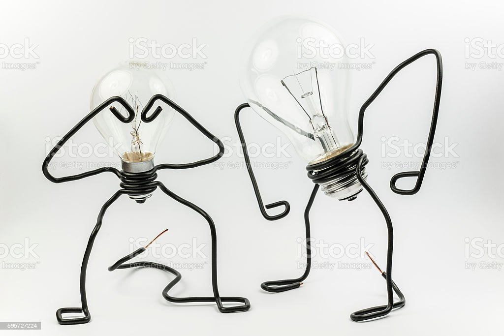 Fantasy figures of light bulbs and wires. stock photo