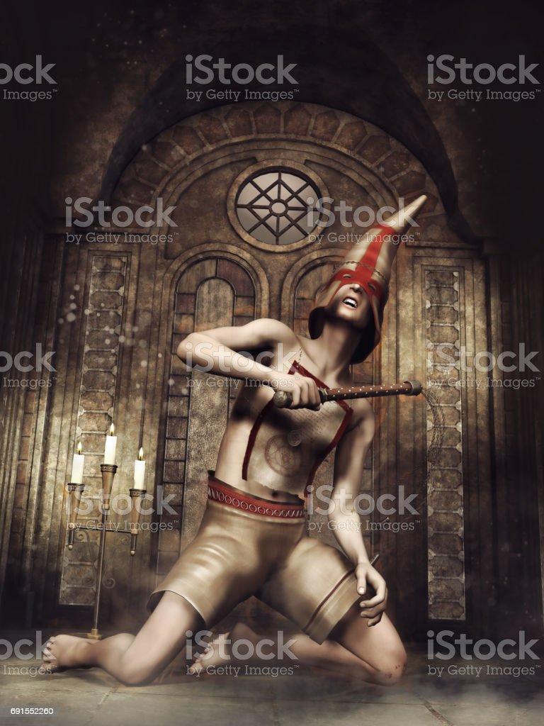 Fantasy flagellant in a chapel stock photo