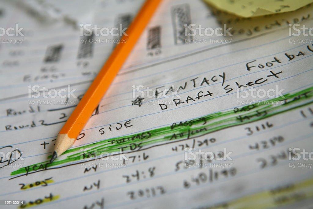 Fantasy Football Notes stock photo