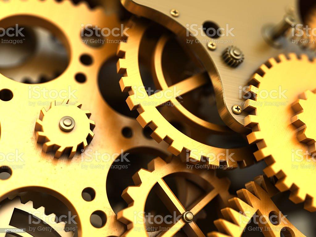Fantasy golden clockwork. Industrial background stock photo