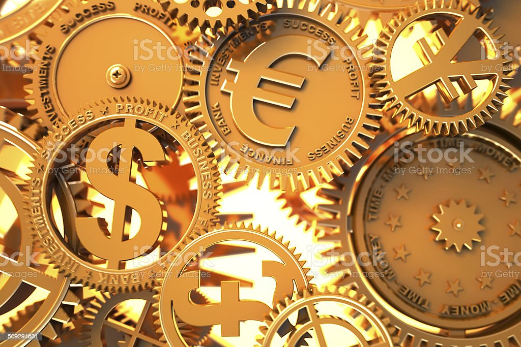 Fantasy golden clockwork with currency sign. stock photo
