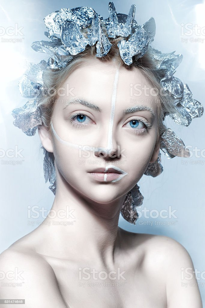 fantasy hairstyle stock photo