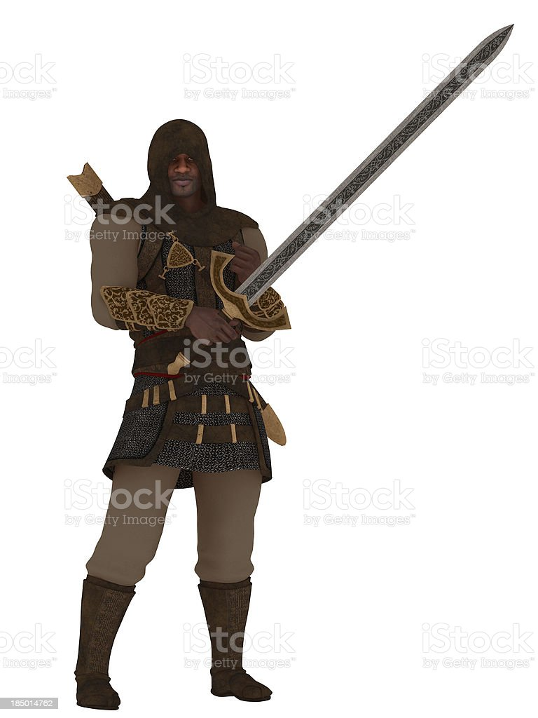 Fantasy hooded assassin with greatsword royalty-free stock photo