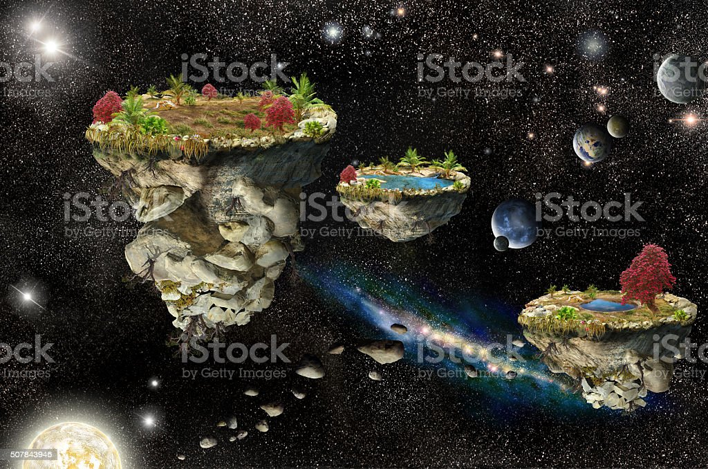 Fantasy Islands in space stock photo