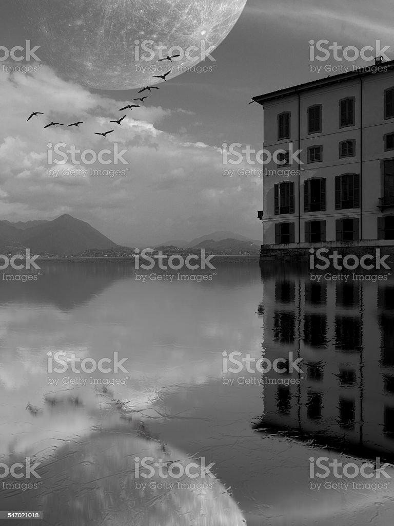 Fantasy lake stock photo