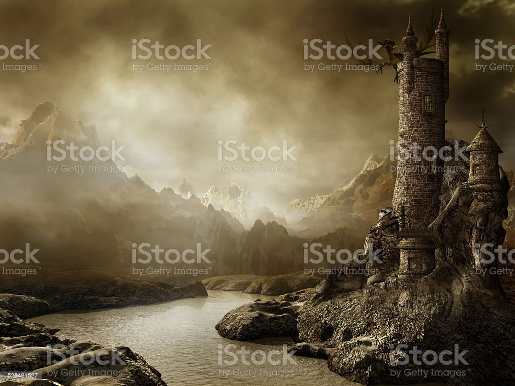 Fantasy landscape with a tower stock photo