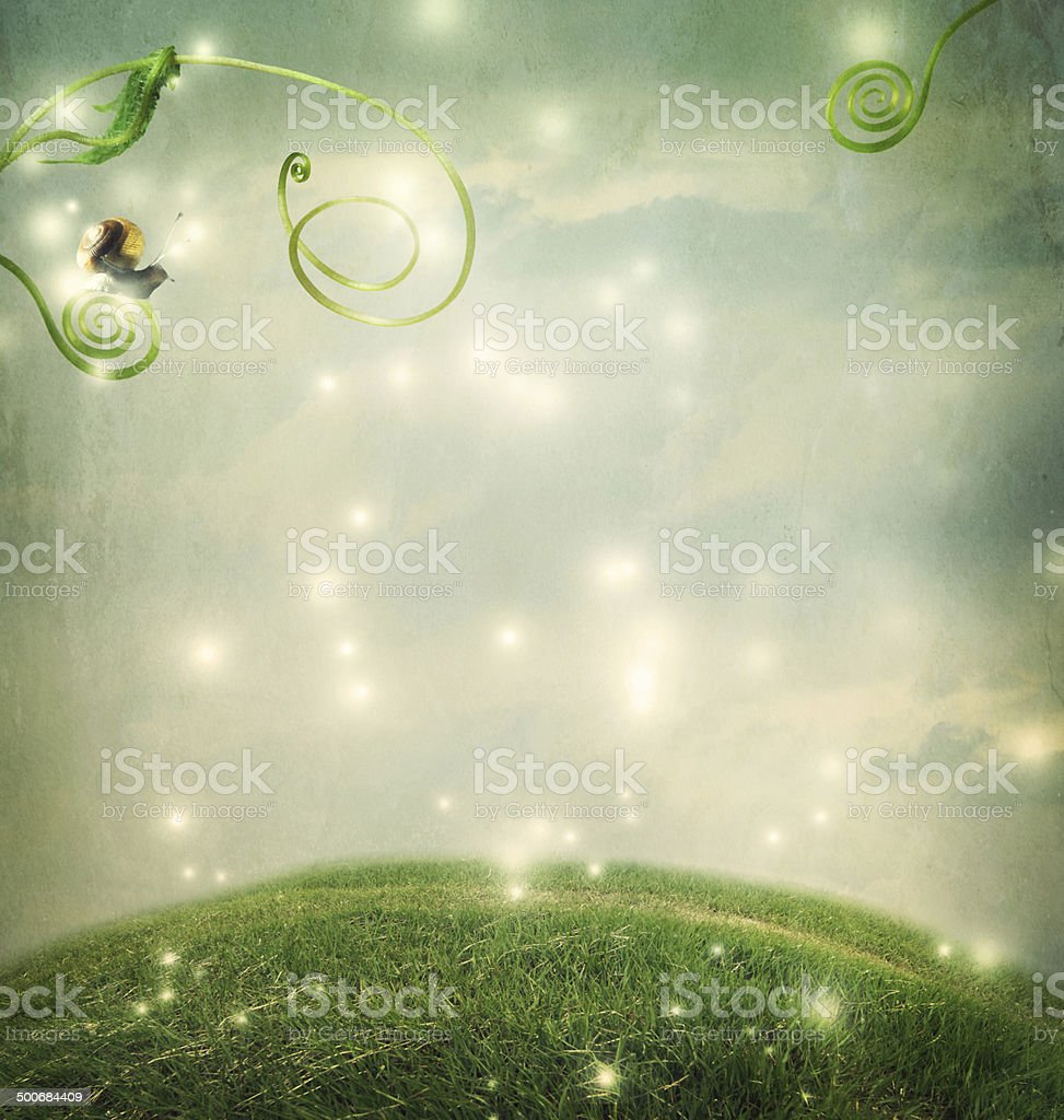 Fantasy landscape with small snail stock photo